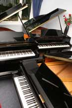 pianos in showroom